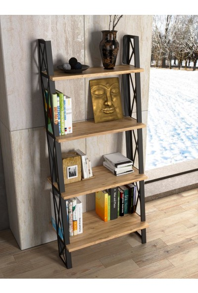 Wood'n Love Lina Duvara Monte Ferforje Metal Çok Amaçlı Kitaplık - Raf Atlantik Çam / Siyah