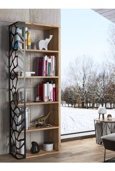Wood'n Love Madrid Kitaplık - Atlantik Çam / Siyah