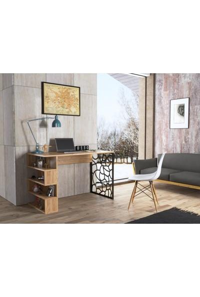 Wood'n Love Flora Metal Ayaklı Çalışma Masası - Atlantik Çam / Siyah