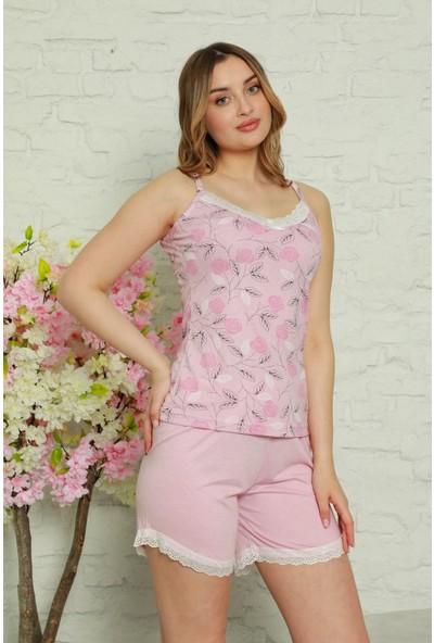 Manolya Dantelli Çiçek Desenli Kadın Pijama Takımı 2465-2 - Pembe Pembe - Xl