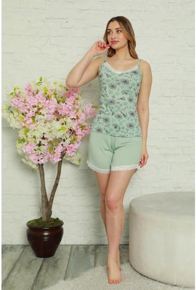 Manolya Dantelli Çiçek Desenli Kadın Pijama Takımı 2465-3 - Mint Mint - Xl