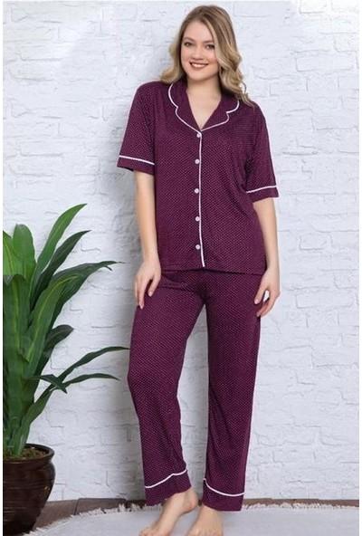 Manolya Gömlek Yaka Puantiye Desenli Kadın Pijama Takımı 2456 - Bordo Bordo - Xl