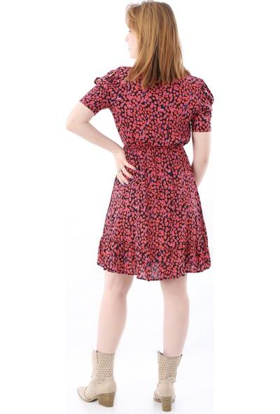 Kadın Kol Yırtmaçlı Kruvaze Yaka Etek Ucu Fırfırlı Siyah-Kırmızı Elbise