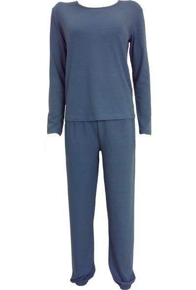 Fit and Size Kadın Düz Renk Yuvarlak Yaka Uzun Kollu 2 Parça Penye Bambu Pijama Takımı