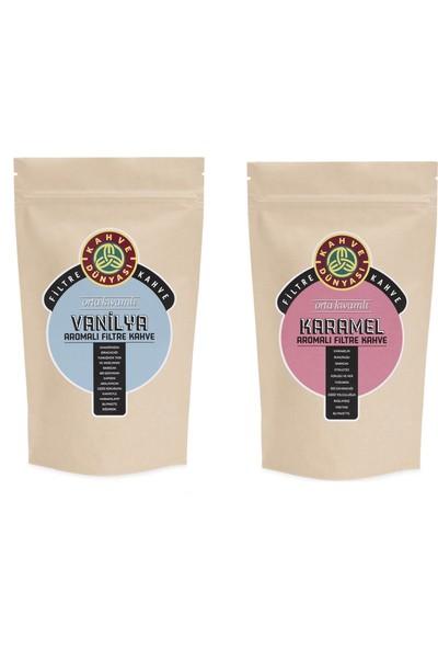 Kahve Dünyası Vanilya Aromalı 250 gr Karamel Aromalı 250 gr Filtre Kahve Kağıt Filtre Çekim