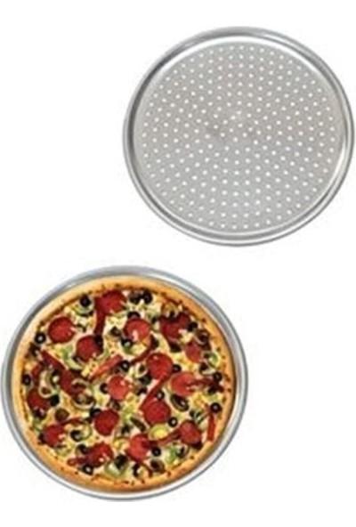 Çilek Ev 3'lü Delikli Pizza Tepsisi Lahmacun Pide Tepsisi 28 x 32 x 36 Cm.