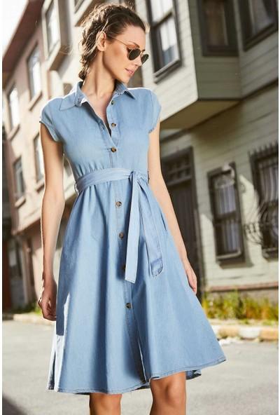 Beyaz Giyim Kadın Açık Mavi Kısa Kol Düğmeli Kot Elbise