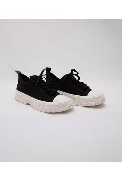 Cudo Siyah Keten Zenne Kadın Ayakkabı