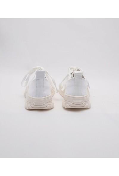 Cudo Beyaz Keten Zenne Kadın Ayakkabı