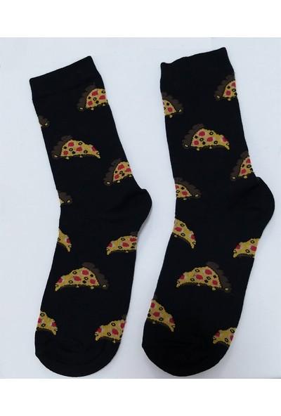 Çorap Kurdu Pizza Desenli Soket Çorap Unisex