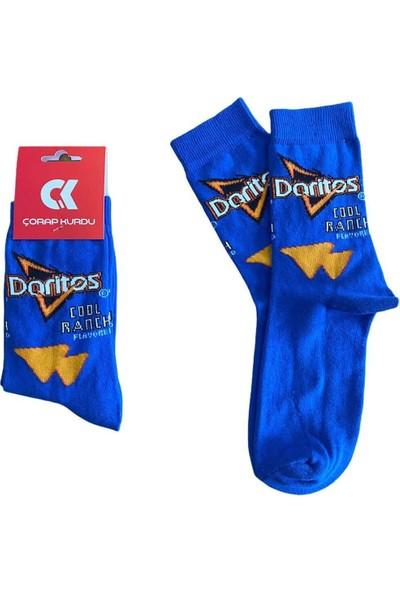 Çorap Kurdu Unisex Mavi Doritos Cips Çorap