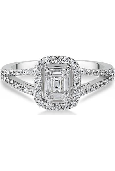 D Diamond 0,45 Karat Pırlanta Baget Altın Yüzük