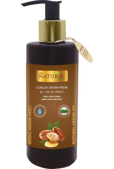 Naturix Argan Yağı Özlü 250 ml Organik Nemlendirici El - Yüz - Vücut Bakım Kremi