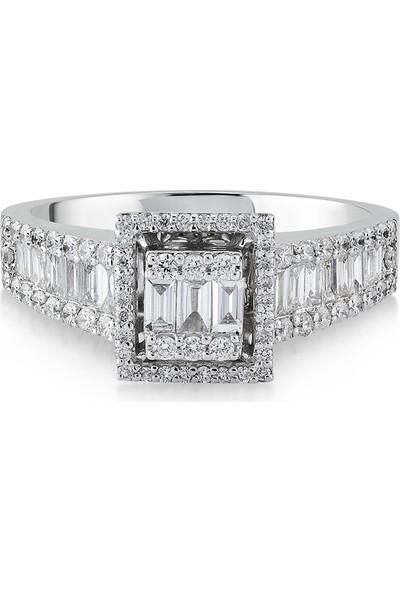 D Diamond 0,65 Karat Pırlanta Baget Altın Yüzük
