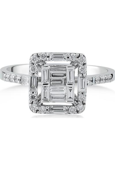 D Diamond 0,50 Karat Pırlanta Baget Altın Yüzük