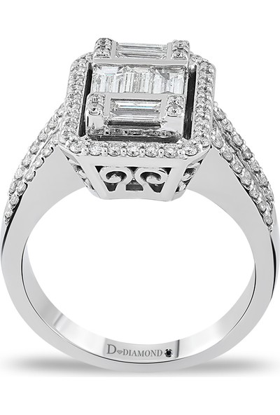 D Diamond 1,10 Karat Pırlanta Baget Altın Yüzük