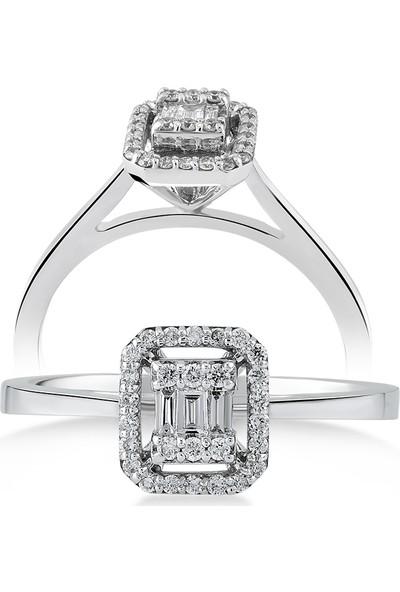 D Diamond 0,21 Karat Pırlanta Baget Altın Yüzük