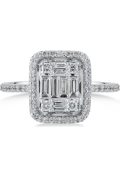 D Diamond 0,70 Karat Pırlanta Baget Altın Yüzük