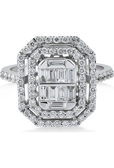 D Diamond 0,85 Karat Pırlanta Baget Altın Yüzük