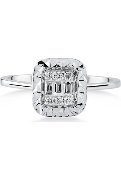 D Diamond 0,14 Karat Pırlanta Baget Altın Yüzük