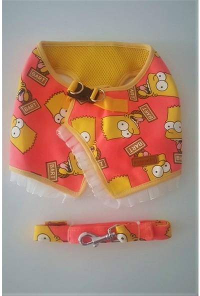 Petquatro Küçük Irk Köpek Bart Simpson Vücut Tasma Takımı Xl
