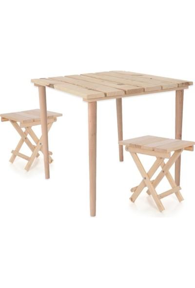 Hamaha Ahşap Pratik Kamp Masası + 2 Tabure - Katlanabilir Piknik Masası Kolay Taşınabilir