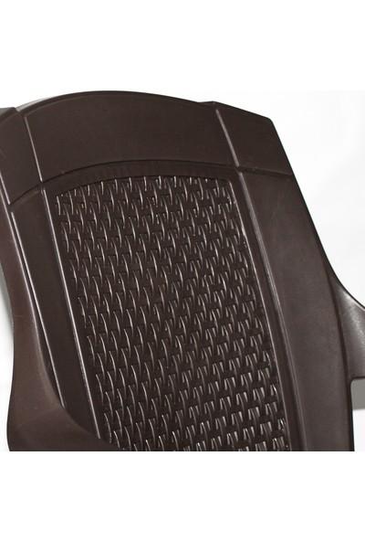 Bahex Sağlam Plastik Rattan Kollu Bahçe Sandalyesi 6 Adet