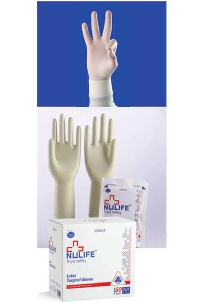 Nulife Lateks Cerrahi Eldiven Steril Pudrasız-8,5 Numara- 1 Kutu (50 Çift)