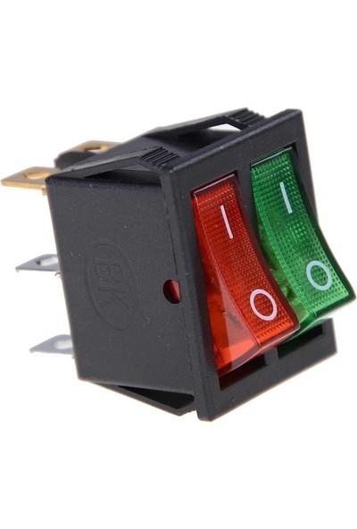 Motorobit Kcd4 Ikili Işıklı On-Off Switch Kırmızı Yeşil 6 Pin