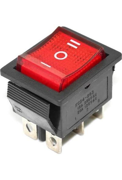 Motorobit Kcd4 On-Off-On Üç Konumlu Işıklı Anahtar 6 Pin