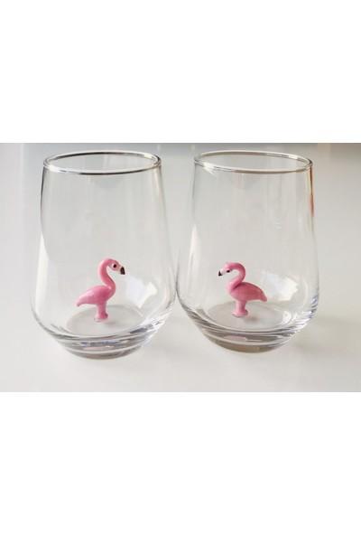 Adamodart Flamingo Cam Figürlü 2'li Bardak Seti