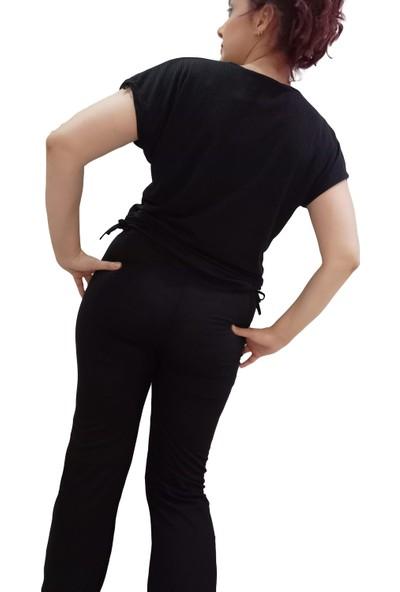 Zy Plus Siyah Kısa Kolu Alt Üst Eşofman Takımı Yanları Ister Büzgülü Kullan Ister Düz Çok Yönlü