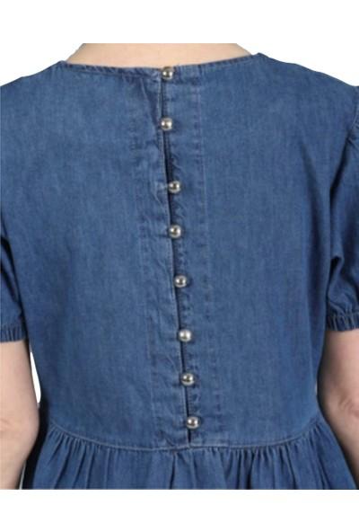 Denmar Sırt Duğme Detaylı Kısa Kollu Lacivert Kot Elbise