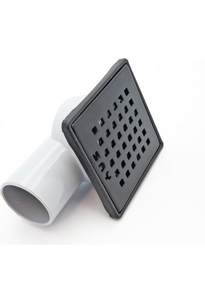 Say Paslanmaz Yer Süzgeci 10 x 10 cm Yandan Çıkışlı Q50 Mat Siyah