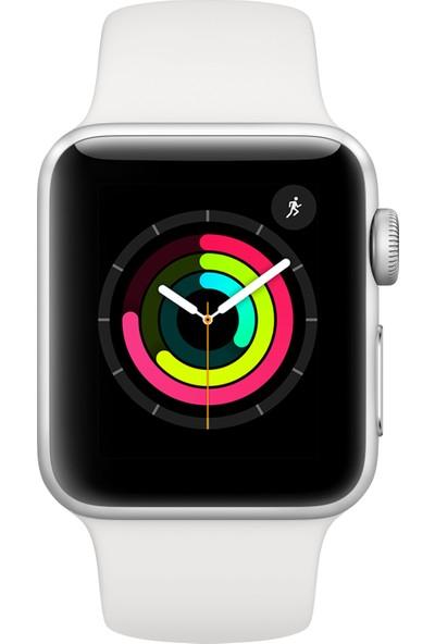 Apple Watch Seri 3 GPS 38 mm Gümüş Rengi Alüminyum Kasa ve Beyaz Spor Kordon - MTEY2TU/A