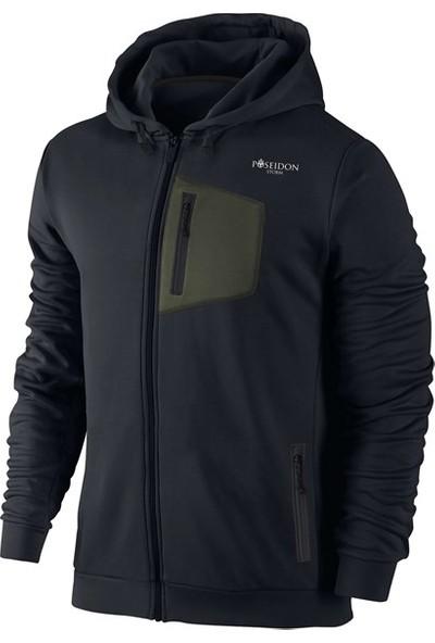 Poseidon Storm Büyük Beden Erkek Siyah Günlük Sweatshirt 3XL-10XL Önü Haki Cepli M4