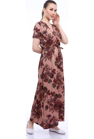 Kasheha Kadın Gül Kurusu Kuşaklı Çiçek Desenli Kruvaze Yaka Askılı Salaş Elbise - KAD3325436