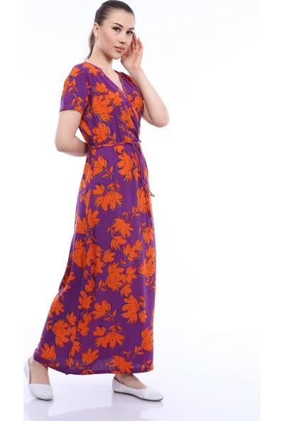 Kasheha Kadın Mor Kuşaklı Çiçek Desenli Kruvaze Yaka Askılı Salaş Elbise - KAD3325436