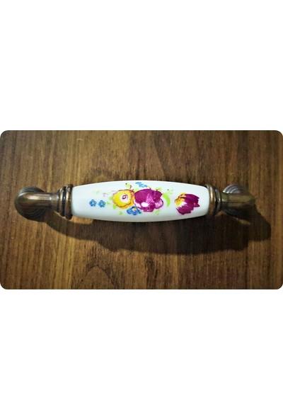 Atsız 10 Adet 96 mm Antik Bakır Beyaz Altın Porselen Görünümlü Kulp ve Vidalar Dahil