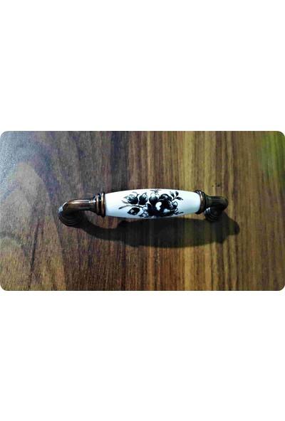 Atsız 5 Adet 128 mm Antik Bakır Siyah Çiçek Porselen Görünümlü Kulp ve Vidalar Dahil