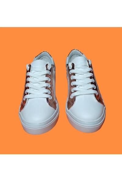 Endless Beyaz Spor Ayakkabı Altın Desen Detaylı Endless Kadın Ayakkabı
