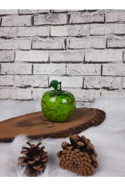 Arkeon Home Üfleme Cam El Yapımı Yeşil Ebruli Elma