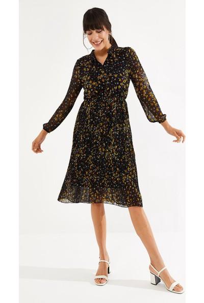 Thil Kadın Desenli Şifon Kumaş Içi Astarlı V Yaka Yakası Bağcıklı Piliseli Şifon Elbise 8866-THL