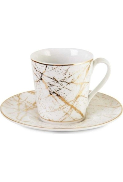 Ipek Porselen 6 Kişilik Kahve Fincan Takımı Özel Işlemeli Altın Çizgili