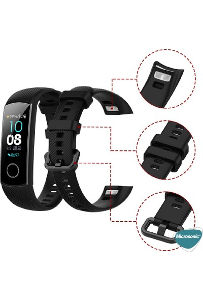 Microsonic Huawei Honor Band 5 Kordon, Silicone Sport Band Siyah