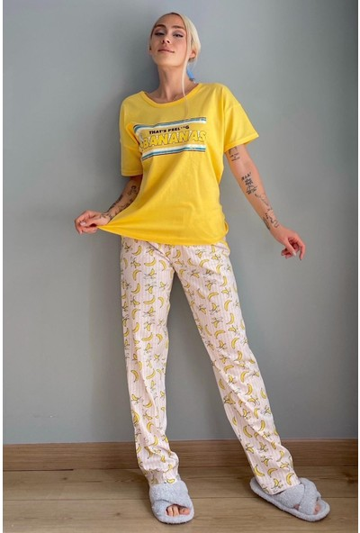 Çarşınet Kadın Baskılı Pijama Takımı Pamuklu Kısa Kollu