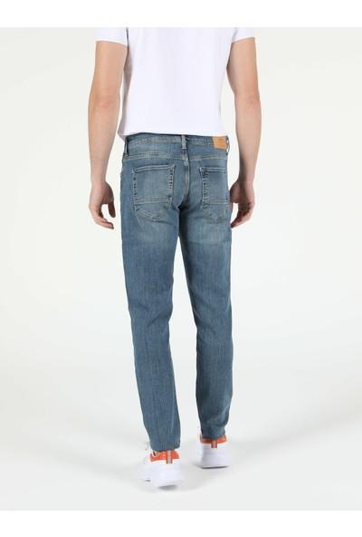 Colins 041 DANNY Düşük Bel Dar Paça Slim Fit Mavi Erkek Jean Pantolon