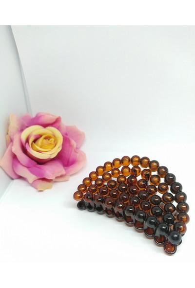 Tokashow Kadın Kahverengi Incili Mandal Toka 8 cm