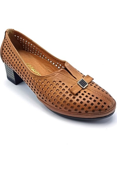 Pandora Moda Kalın Topuk Taba Deri Kadın Ayakkabı