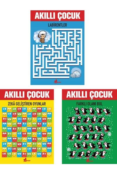 Akıllı Çocuk Serisi 3 Kitap - Labirentler - Zeka Geliştiren Oyunlar - Farklı Olanı Bul
